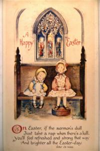 Unused pre-1920 artist signed GIRLS SITTING IN CHURCH - Easter postcard y4290-22