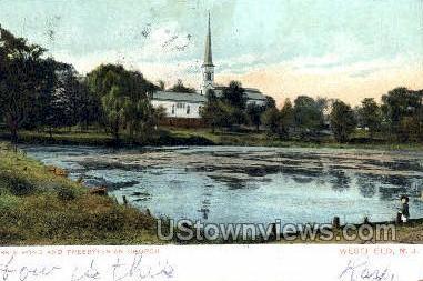 Clarks Pond And Presbyterian Church Westfield NJ 1906