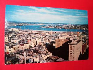 Old Postcard LA New Orleans Airview of Downtown