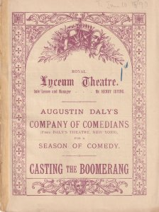 Casting The Boomerang Victorian Comedians Comedy London Theatre Programme