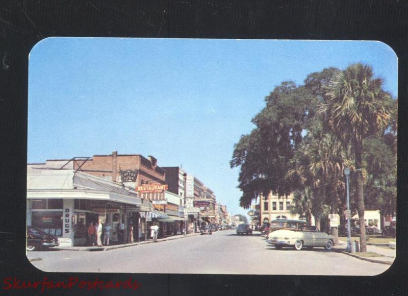 LAKE CITY FLORIDA 1950's CARS DOWNTOWN STREET SCENE VINTAGE