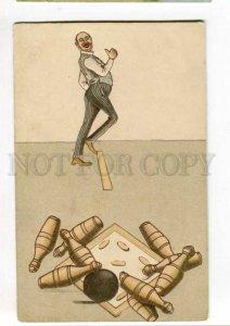 288607 Sport BOWLING Comic Gentleman Vintage EMBOSSED postcard