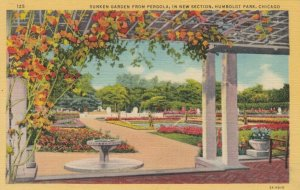 CHICAGO, Illinois, 1930-40s ; Sunken Garden from Pergola, Humboldt Park
