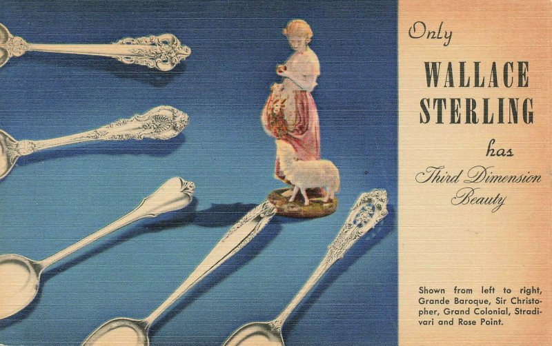 Wallingford CT Wallace Sterling Spoons and Cutlery Linen Postcard