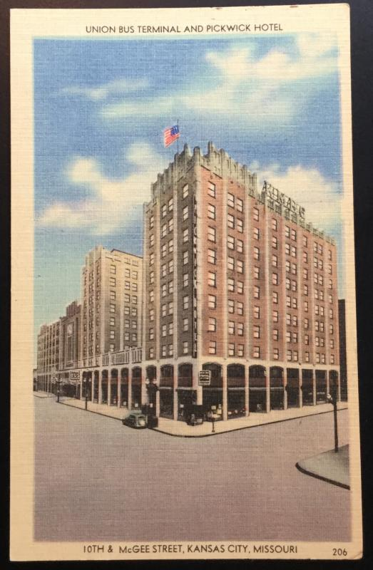 Linen Postcard Unused Union Bus Termminal Pickwick Hotel KC MO LB
