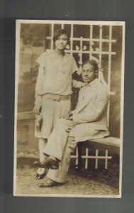 Mint Postcard Black Americana RPPC Well Dressed African American Couple akron OH