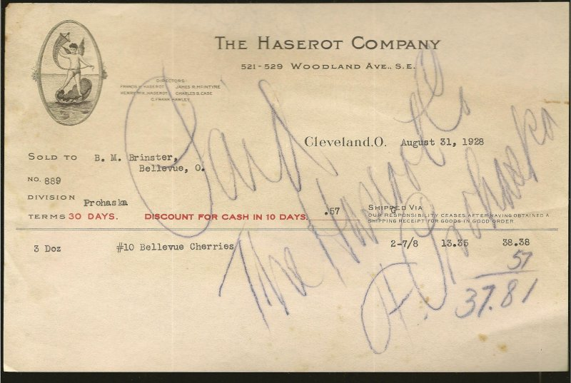 The Haserot Company Cleveland O 1928 Invoice Used PLEASE READ NOTE