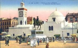 Alger Algeria, Africa, Statue du Duc d'Orleans et Mosquee Djemaa Djedid  Stat...