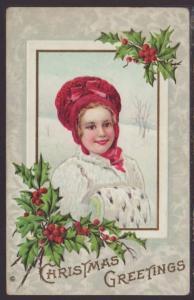 Christmas Greetings,Girl,Holly Postcard