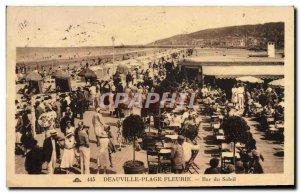 Old Postcard Deauville Beach bar flowery sun