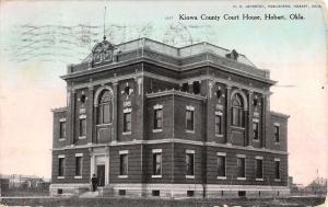 Hobart Oklahoma Kiowa Court House Street View Antique Postcard K39026