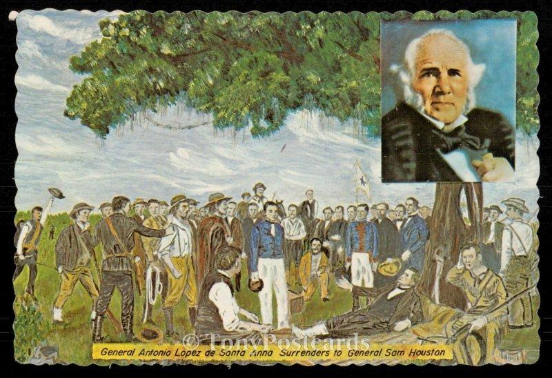 General Antonio Lopez de Santa Anna surrenders to General Sam Houston