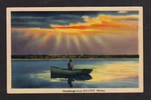 ME Vintage Greetings from MOODY MAINE Postcard PC Fisherman Fishing