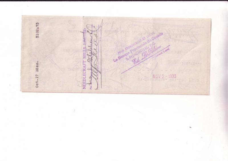 Cheque, Bank Of Canada 1933 Needlecraft Mills, St Hyacinthe Quebe Canadian Stamp