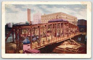 Chicago Illinois~Traffic on Closed Madison Street Bridge~City Bkgd~1908 Postcard