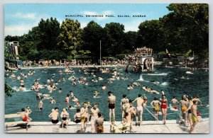 Salina KS~Municipal Swimming Pool Crowd~Diving Board~Lifeguard Stand~Slide~1930s