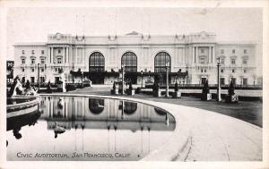 Civic Auditorium, San Francisco, Early Real Photo Postcard, unused
