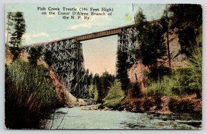 Coeur D'Alene Idaho~Fish Creek Trestle~NP Railway~c1910 Postcard