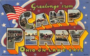 G45/ Camp Perry Ohio Large Letter Linen Greeting Postcard Lake Erie