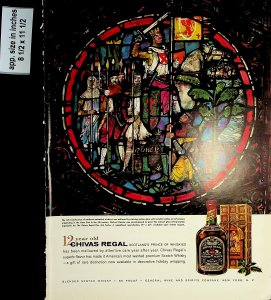 1958 Chivas Regal Whiskey Stained Glass Vintage Print Ad 7634