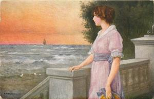 B. Dietze - Woman Seascape Lost Dream Traumverloren vintage art postcard 1917