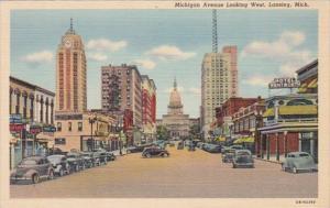 Michigan Lansing Michigan Avenue Looking West 1951 Curteich