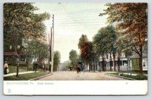 Washington Pennsylvania~Wade Avenue Homes~Busy Street~Horse Buggies~c1910 TUCK