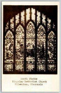 Milwaukee WiI~Stained Glass Window~Kingsley Methodist Church RPPC 1940s Postcard