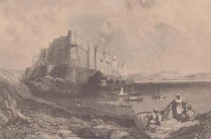 E Finden Agra Fort Madhya Uttar Pradesh Antique Indian 1838 Painting Postcard