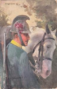 Artist signed postcard military man in uniform white horse Hungary Belavary J.
