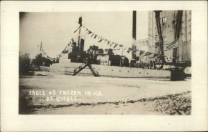 US Navy Naval Ship EAGLE #5 Frozen in Ice at Quebec c1920 Real Photo Postcard