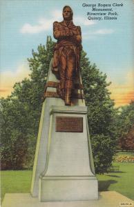 George Rogers Clark Monument, Riverview Park, Quincy, Illinois, 30-40s
