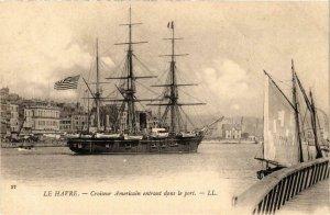 CPA AK LE HAVRE Croiseur Americain entrant dans le port SHIPS (704292)