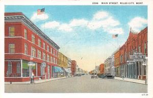 Miles City Montana~Main Street~Hotel Olive~Berg Decorating Co~1929 Postcard