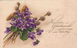 Purple flowers, Herslichen Gluckwunsch zum Geburtstage, PU-1928