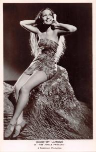 SEXY DOROTHY LAMOUR~THE JUNGLE PRINCESS~LONDON UK REAL PHOTO MOVIE POSTCARD