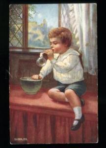134464 KID Boy w/ Bubbles Vintage TUCK #9508 PC