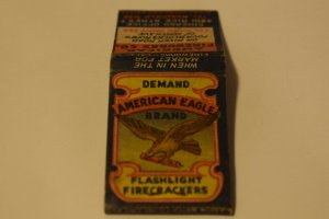 Demand American Eagle Brand Flashlight Firecrackers 20 Strike Matchbook Cover