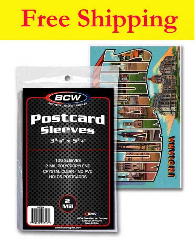BCW Postcard Sleeves-2 MIL-Standard Postcard Size 3 11/16 x 5 3/4- 100 Pcs.