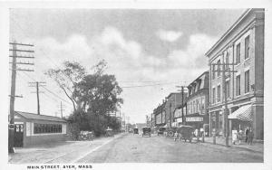 Ayer Massachusetts~Main Street~Ice Cream Shop~Storefronts~People~c1915 Postcard