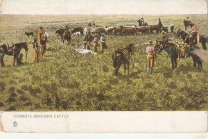 Cowboys branding cattle Tuck apholette Ranching in the West Ser. PC # 5215