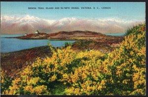 British Columbia ~ VICTORIA Broom Trail Island and Olympic Range pm1940 - LINEN