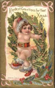 Christmas - Cute Baby in Santa Claus Hat LR Conwell c1910 Postcard