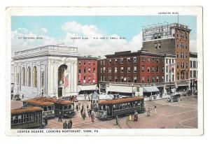 York PA Center Square Looking Northeast Trolleys Postcard