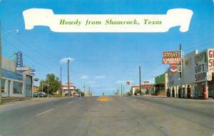 Shamrock TX Plymouth-Dodge Dealer~Standard Oil Gas~Rt 66~Dixie Restaurant 1962