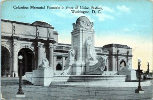 1914 Washington DC Columbus Memorial Fountain Monument Statue Postcard EJ