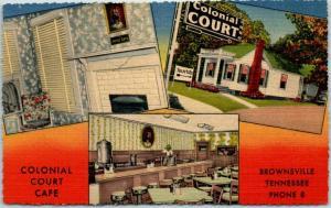 Brownsville, Tennessee Postcard COLONIAL COURT CAFÉ Roadside Linen 1953 Cancel