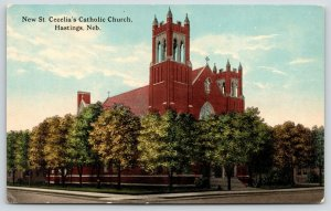 Hastings Nebraska~New St Cecilia Catholic Church~c1910 Postcard
