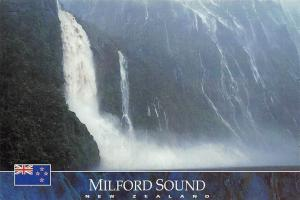 New Zealand Milford Sound Waterfall Cascade