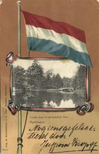 netherlands, APELDOORN, Royal Palace Pond, Flag Postcard (1906)